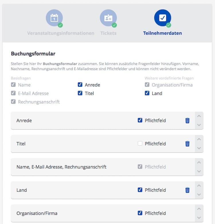 Online Anmeldeformulare erstellen Teilnehmerdaten