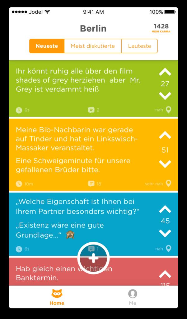 Übersicht Jodel App