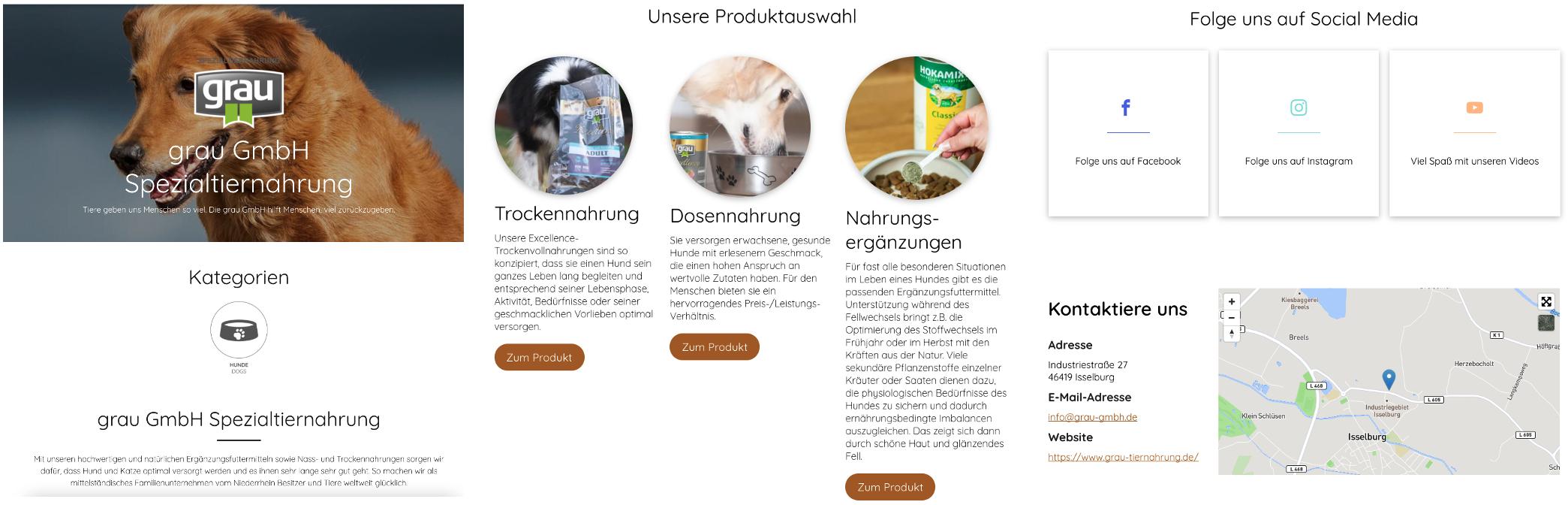 """Beispiel Ausstellerseite """"grau GmbH Spezialtiernahrung"""" bei der Messe Jagd & Hund 2021"""