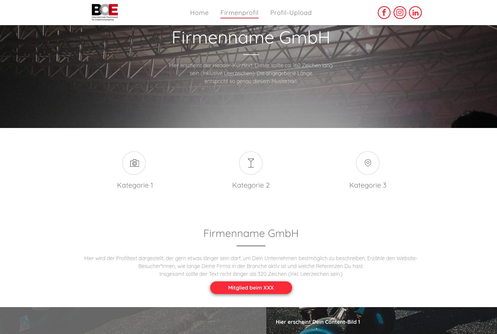 Beispiel Ausstellerseite BOE connect 2021